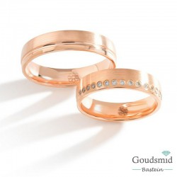 Bluerings trouwringen set PA026 14kt goud Diamant