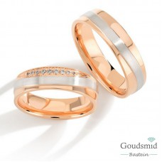 Bluerings trouwringen set PA027 14kt goud zirkonia