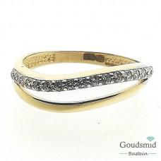 Gouden ring 14karaat bicolor zirkonia RMDC01-04995