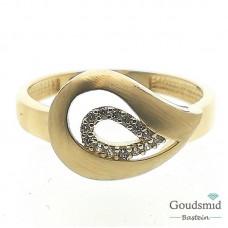 Gouden ring 14karaat geelgoud zirkonia RMDC01-0741-56